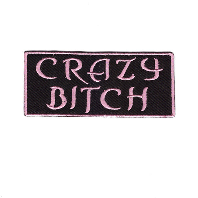 Crazy Bitch Words Slogan Motorcycle Biker Patch Iron On Patch sew on transfer