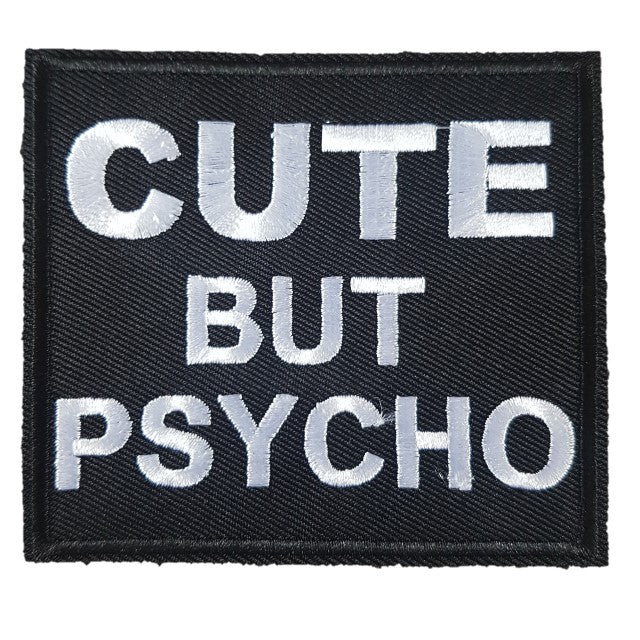 Cute But Psycho Words Slogan Motorcycle Biker Patch Iron On Patch sew on transfer