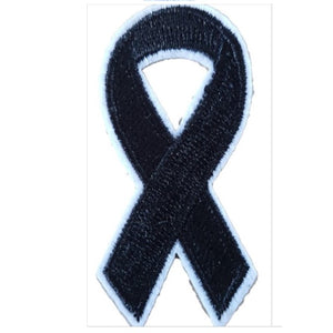 Black Awareness Ribbon Iron On Patch Sew On Transfer