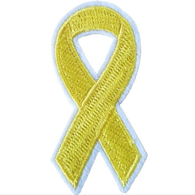 Yellow Awareness Ribbon Iron On Patch Sew On Transfer