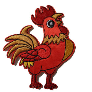 Red & Yellow Rooster Chicken Iron On Patch Sew on transfer