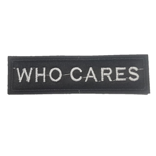 WHO CARES Words Slogan Motorcycle Biker Patch Iron On Patch sew on transfer
