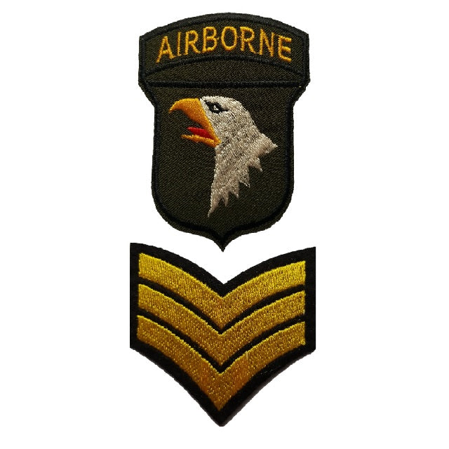 101st airborne rangers and yellow Sargent Twin pack of iron on patches