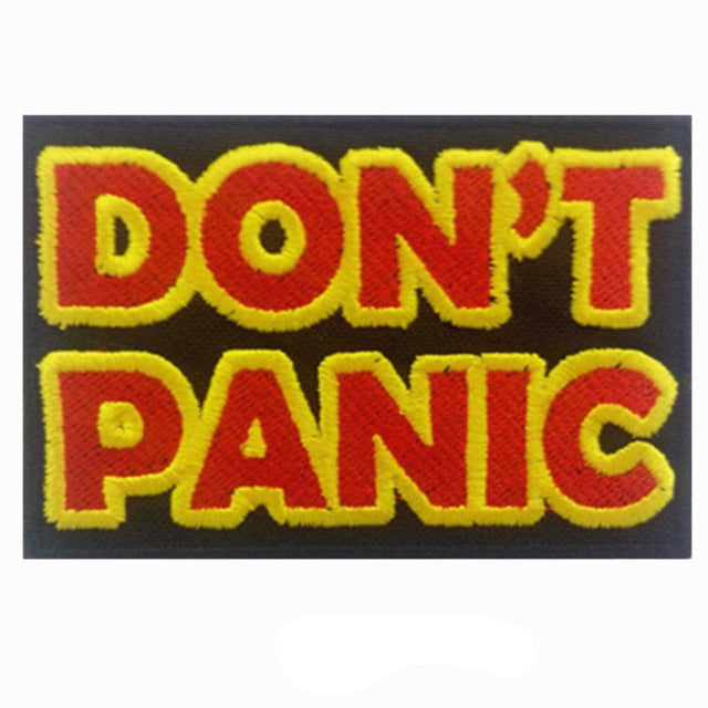 DON'T PANIC Slogan Words Iron On Patch Sew on Transfer