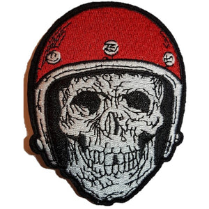 Biker Skull skeleton wearing Biker Helmet Iron On Patch Sew on Transfer