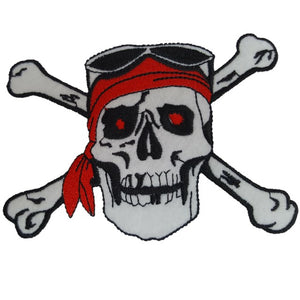 skull and crossbones pirate iron on patch sew on transfer large