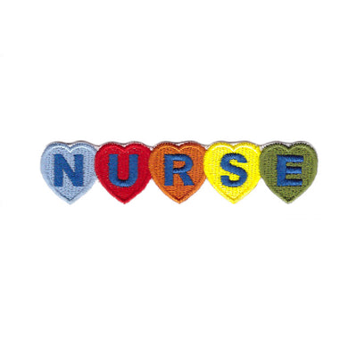 Nurse word each letter in a heart iron on patch sew on transfer