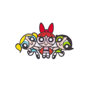 powerpuff girls iron on patch 100x70mm