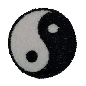 Small White Yin and Yang Iron On Patch Sew On Transfer