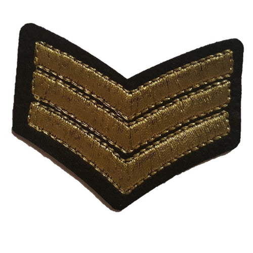 gold stitched iron on sew on patch Sargent chevrons