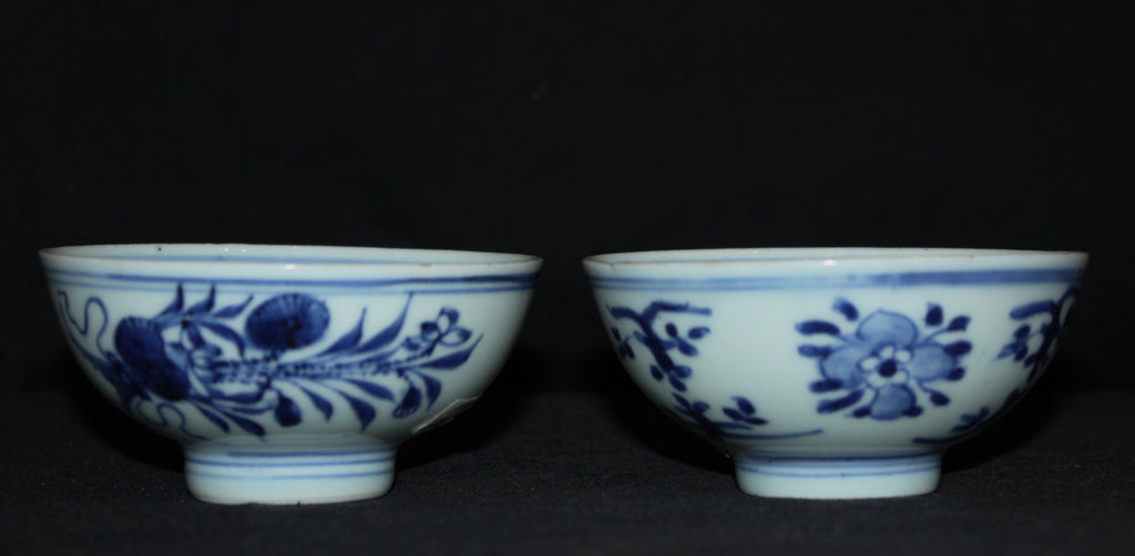 A pair of blue and white tea bowls. - asianartlondon