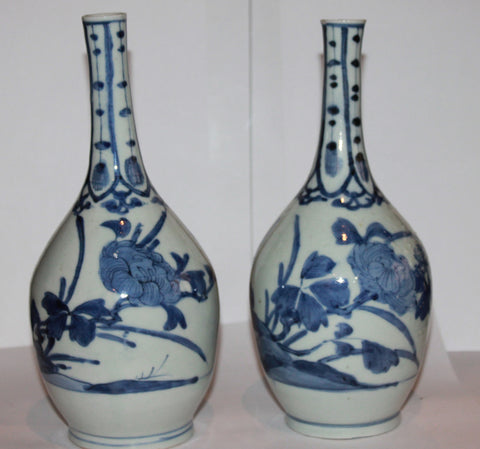 A pair of Japanese early Arita vases. C. 1650.