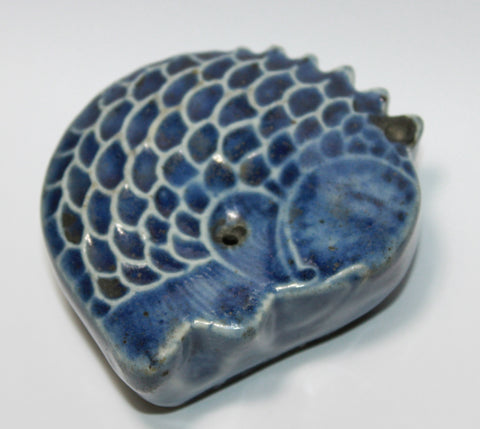 A Korean 19th Century fish form blue glazed water dropper.