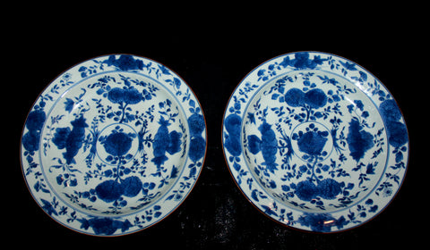 A pair of blue and white porcelain dishes.