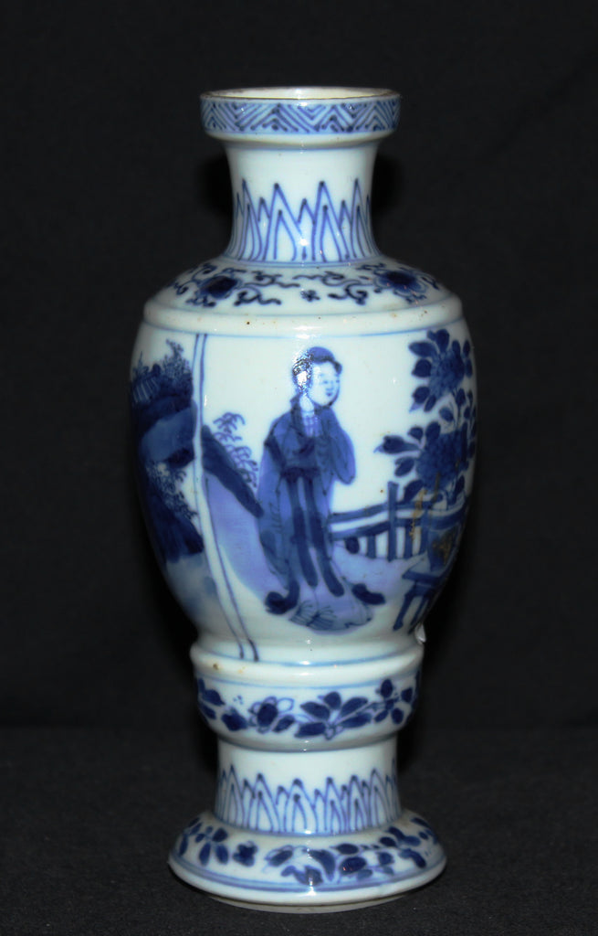 A Chinese Kangxi Period blue and white vase. - asianartlondon