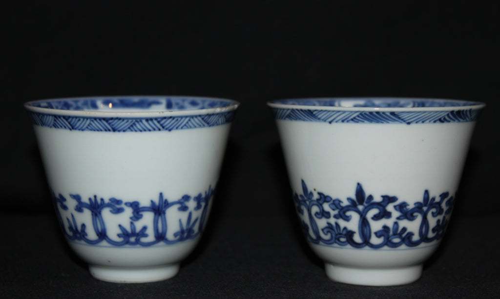 A pair of blue and white wine cups. - asianartlondon