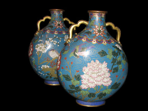 A fine pair of Chinese cloisonne moon flasks  SOLD