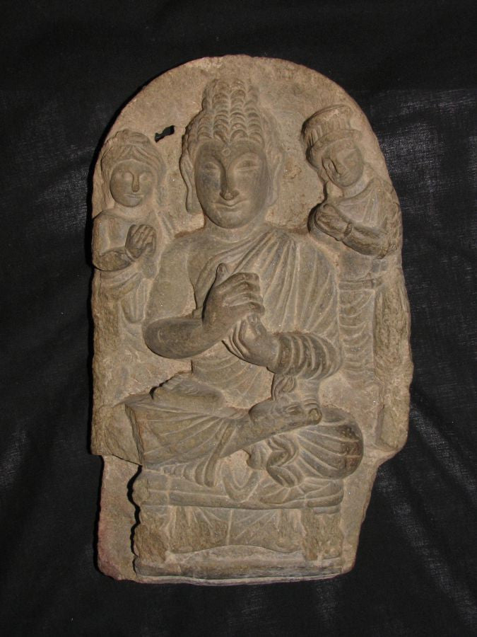 Gandhara carved schist stele of Buddha with attendants. - asianartlondon