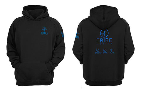Tribe JNR Black Hooded Sweatshirt with Blue Logo