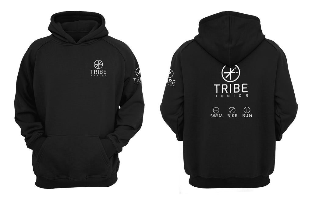 Tribe JNR Black Hooded Sweatshirt with White Logo