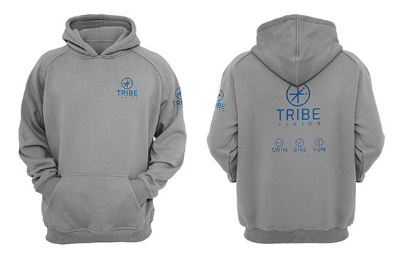 Tribe JNR Grey Hooded Sweatshirt with Blue Logo
