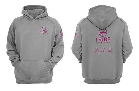 Tribe JNR Grey Hooded Sweatshirt with Pink logo