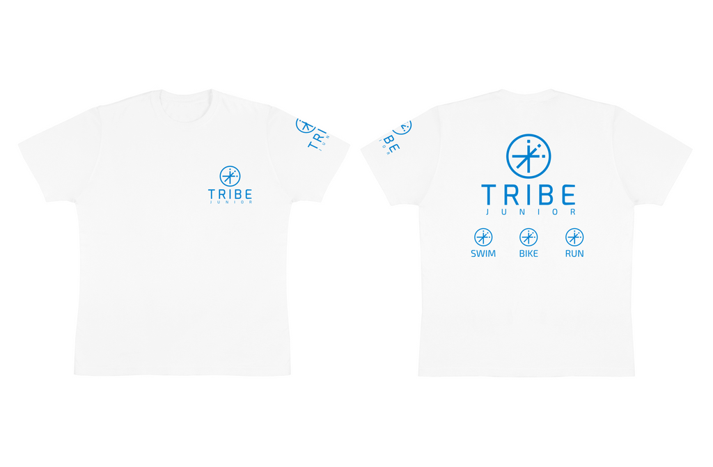 Tribe JNR Tshirt, White with Blue Logo