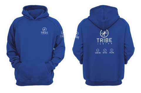 Tribe JNR Blue Hooded Sweatshirt with White Logo