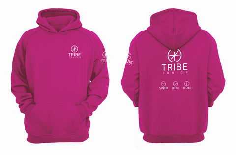 Tribe JNR Pink Hooded Sweatshirt with White Logo