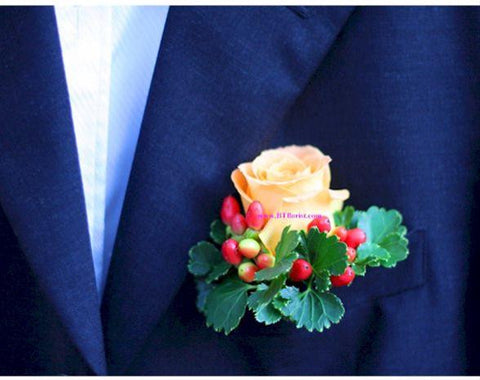 Orange Rose Corsage - WED0223
