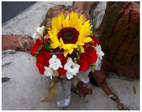 Sunflower n Rose Bridal Bouquet  - WED0197