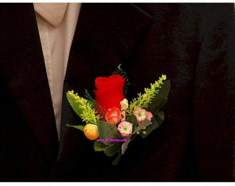 Artificial Red Rose Corsage  - ART0415
