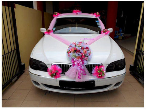 Deluxe Pink Theme Car Decoration   - WED0682