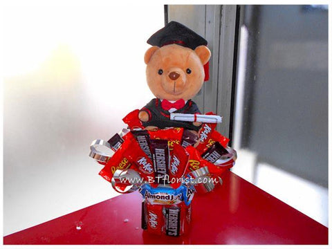 Graduation Bear n Chocolate Arrangement    - BWF3580
