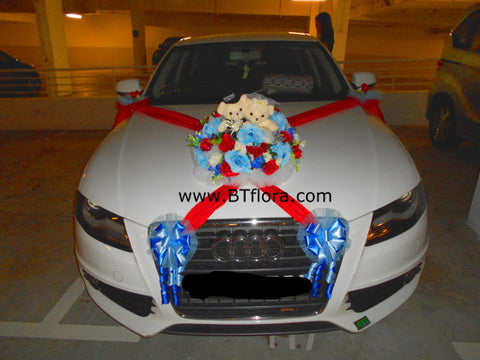 Blue/Red Theme with Wedding Bear Car Decoration  - WED0734