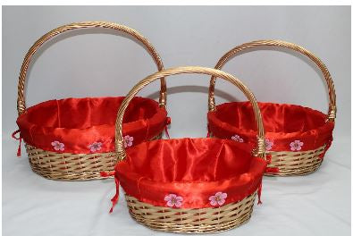 Red/Gold Flower Print Basket    - BAS2611