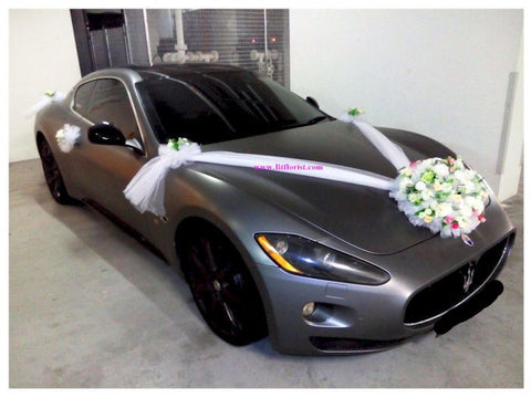 White/Silver Theme Car Decoration - WED0620