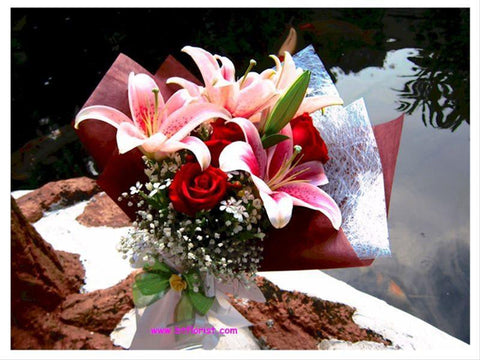 Pink Lily & Rose Bouquet - FBQ1073val