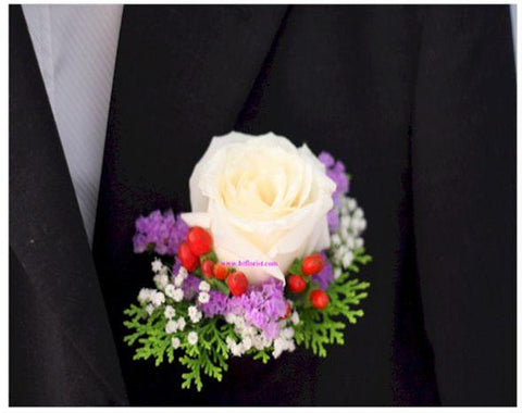 Special White Rose Corsage - WED0206