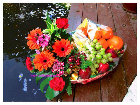 Gerberas & Fruits Basket   - FRB5523