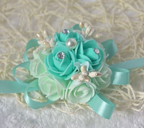 Tiffany Blue Wrist Corsage   - WED0378
