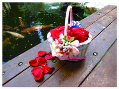 Flower Basket with Rose Petals   - FLB6601