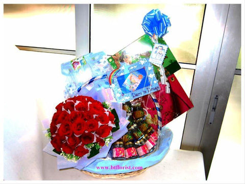 Deluxe Baby Gift Basket & Rose Bouquet -BGS6053