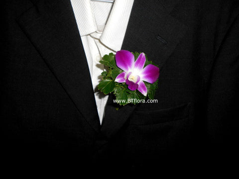 Simple Orchid Boutonniere - WED0279