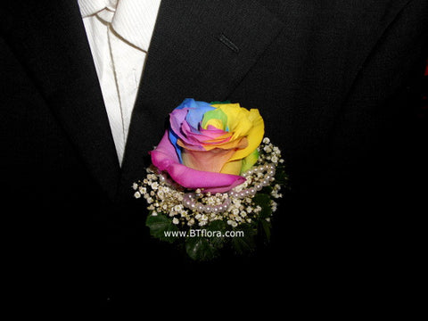 Rainbow Rose Corsage - WED0425