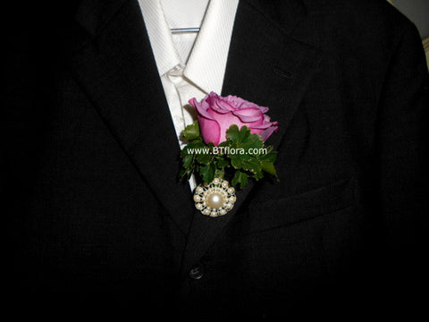 Rose Boutonniere with Pearls - WED0282