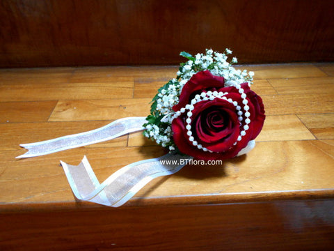 Fresh Rose n Pearl Wrist Corsage  - WED0394