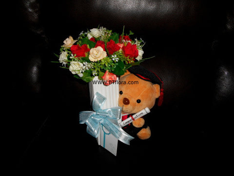 Graduation Bear with Artificial Flower      - BWF1261Z