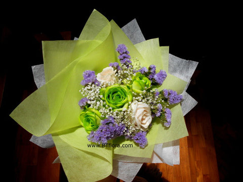 Green/White Rose Bouquet  - FBQ1317