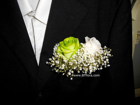 Green/White Rose Corsage - WED0295